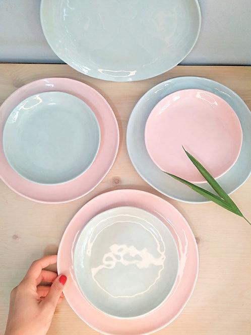 Pistachio green & pink pastel porcelain set of 2 dinner plates