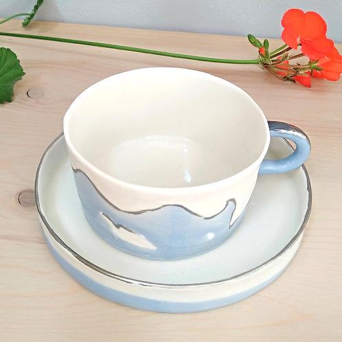 Sea waves, porcelain coffee/tea cup with platinum 24k (220ml)