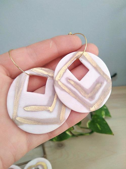 Pink porcelain hoop earrings with gold 24k