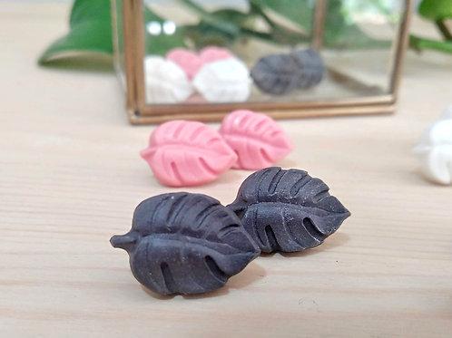 Monstera leaf porcelain earrings with Gold leaf 24K