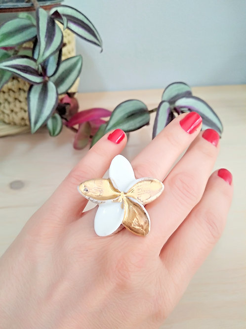 Plumeria flower statement porcelain ring
