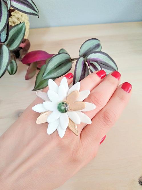 Wild flower statement porcelain ring