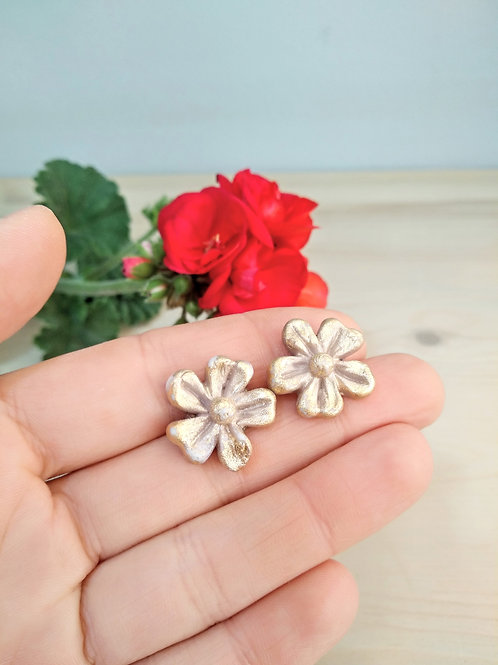 Tropical flowers porcelain earrings with Gold 24K