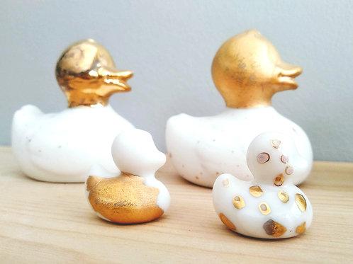 Porcelain duck family in Gold 24K_Christening favors