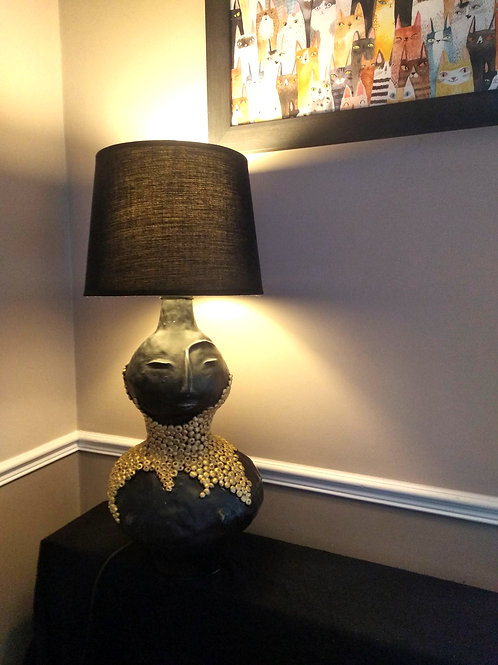 Madame Bovary_Figurine Ceramic Table Lamp in Black Glaze & Gold Colour touches
