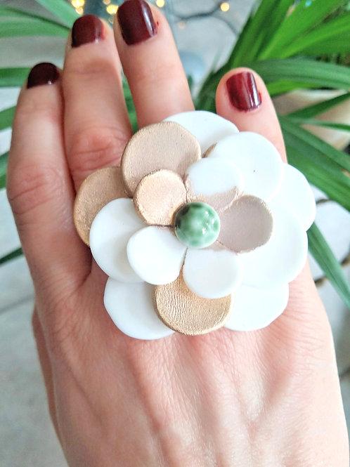 Spring flower statement porcelain ring
