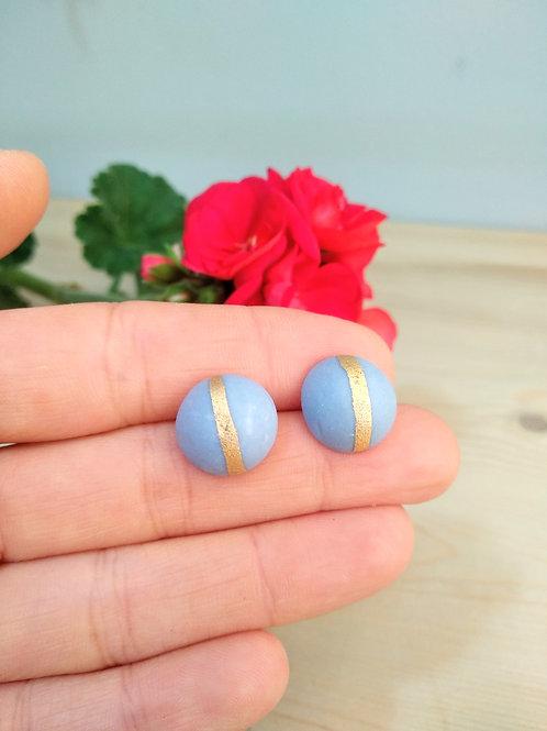 Blue full moon porcelain earrings
