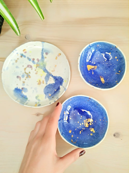 Serving bowls and plate for nuts or chips, deep blue colour glaze & gold 24K