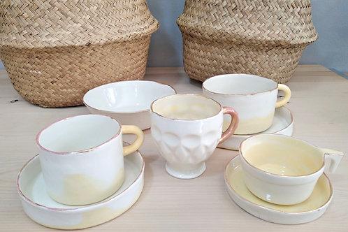 Dreamy handmade porcelain coffee-tea cup set & breakfast bowl (8 pieces)