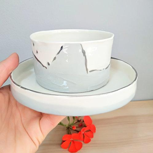 Cornwall waves, porcelain coffee/tea cup (220ml) & breakfast bowl