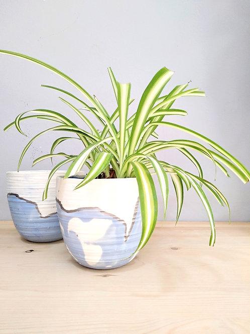 Summer sea waves porcelain planters-vases