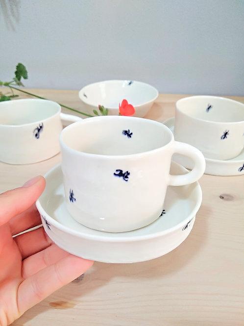 Ant coffee/tea porcelain set (5 pieces)