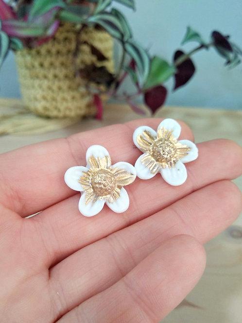 Spring flower porcelain earrings with Gold 24K