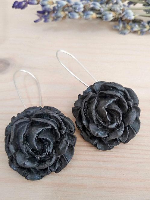 Black porcelain english roses pendant earrings