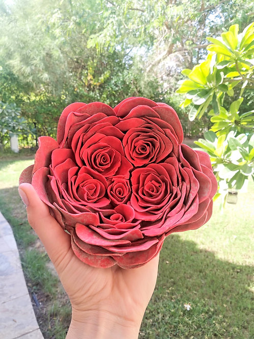 Red Rose Bouquet_Wall Mounted Sculpture_Organic Form