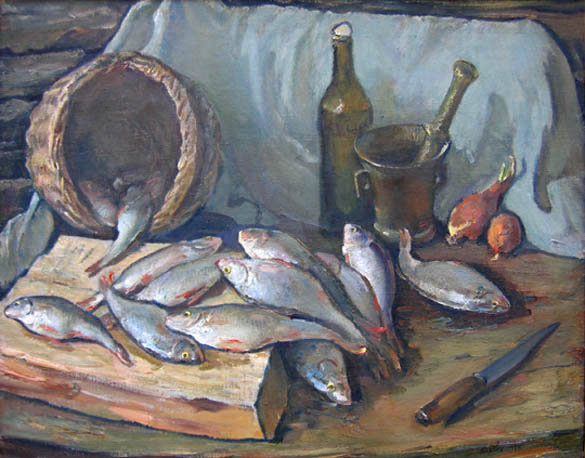 fish and basket still life