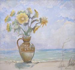 Sunflowers on a sunny beach