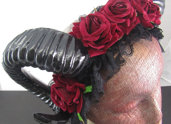 Ram Horn with Red Roses headress