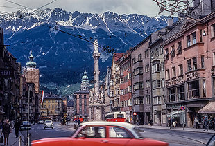 European Mountain Town Vintage Photo