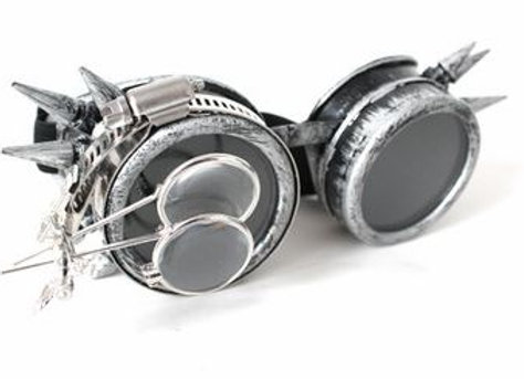 Antique Silver Goggles with Double Loupe