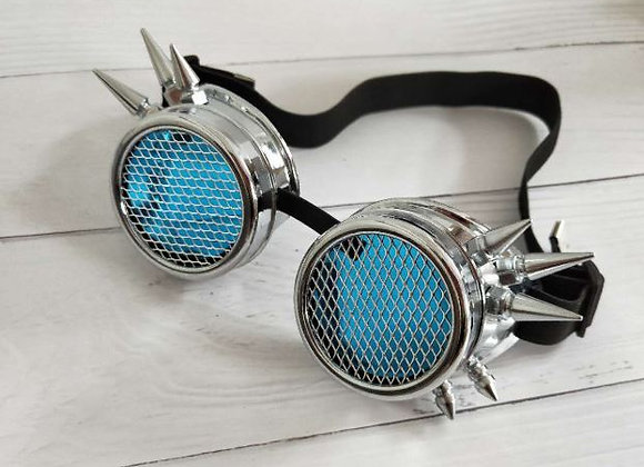 Shiny Silver Spike Googles with Grill Lens