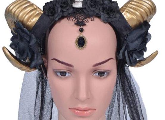 Gold Ram Horns with Skull