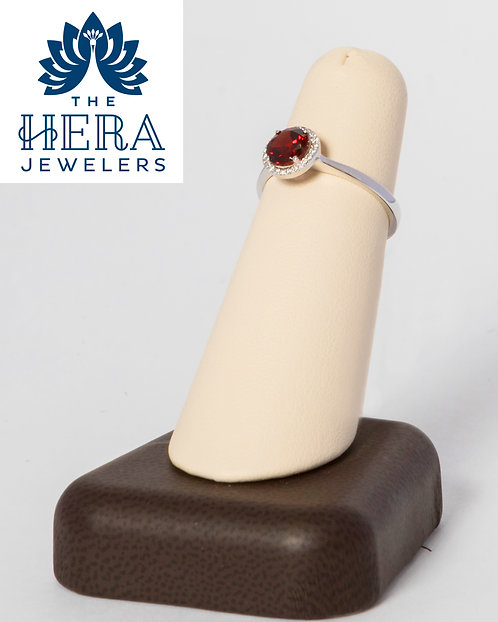 Red Garnet Ring with Diamonds