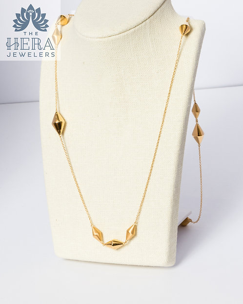 Long Yellow Gold Necklace with Gold Large Beads