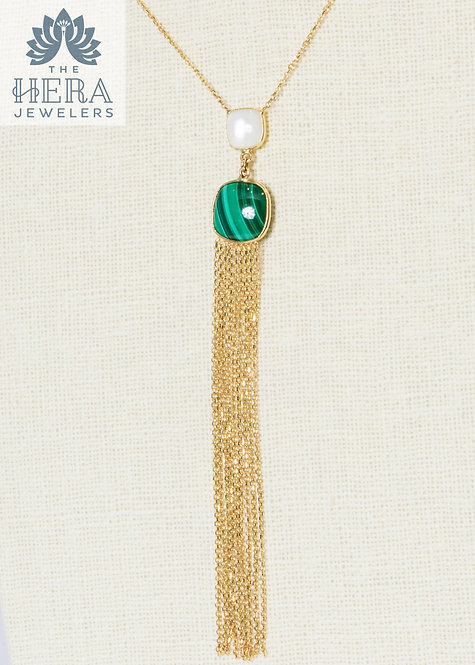 Green Turquoise & Moon Stone Pendant with Tassel Yellow Gold Necklace
