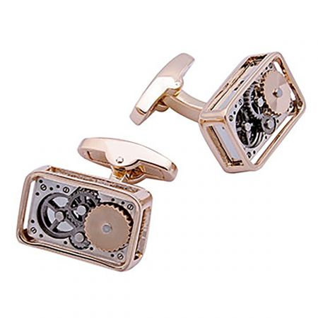 Rose Gold Rectangle Gear Cufflinks