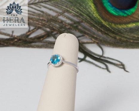 Blue Topaz with Diamond Halo Ring