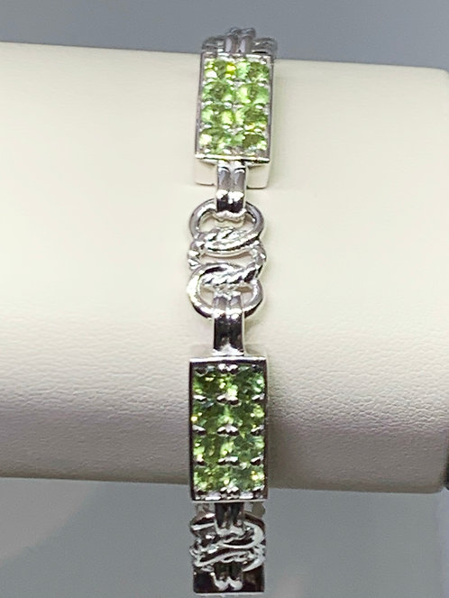 Sterling Silver Link Bracelet with Gemstones