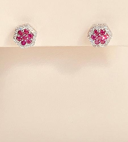 Ruby Diamond Cluster Earring