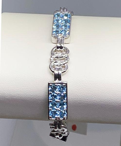 Sterling Silver Link Bracelet with Topaz