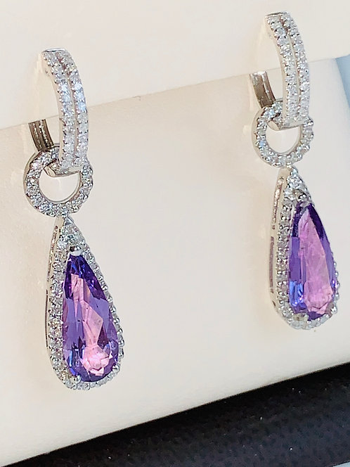 Amethyst Diamond Earrings