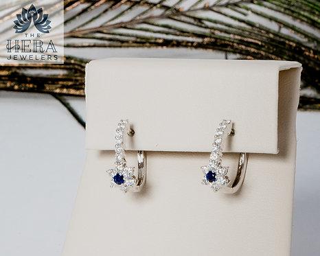 Sapphire Diamond Flower Huggie Hoop Earring
