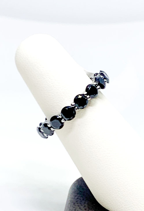 Black CZ on Sterling Silver Eternity Band