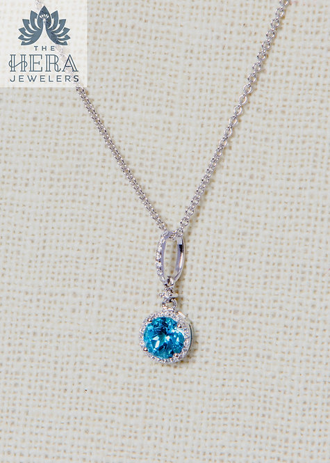 Blue Topaz Pendant with Diamonds