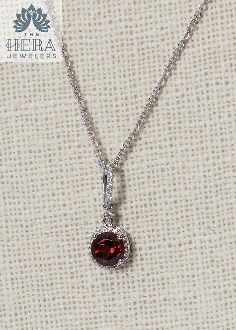 Red Garnet Pendant with Diamonds