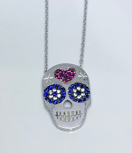 Skull Pendant with White, Blue, and Red CZ and Sterling Silver Necklace