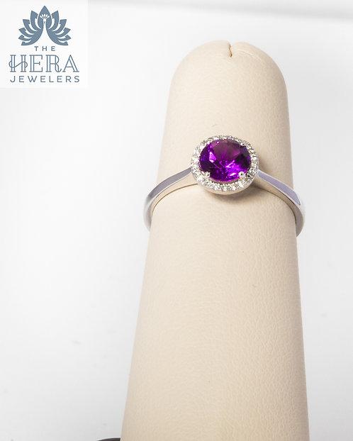Amethyst Diamond Ring