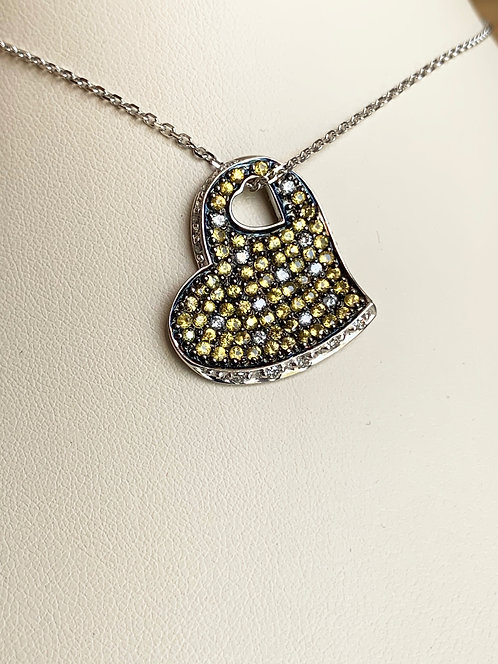 Yellow Sapphire and Diamond Heart Pendant