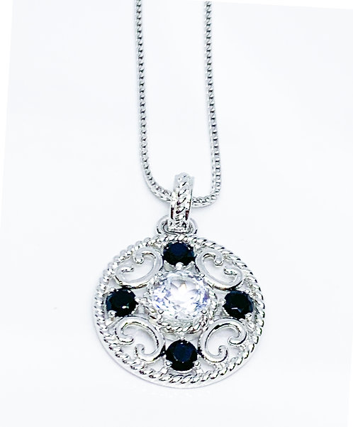 Black and White CZ Medallion on Sterling Silver Necklace