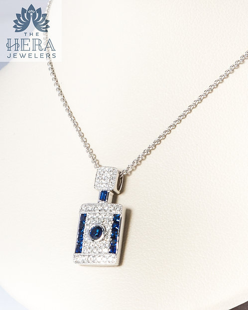 Sapphire and Diamond Pendant on Necklace