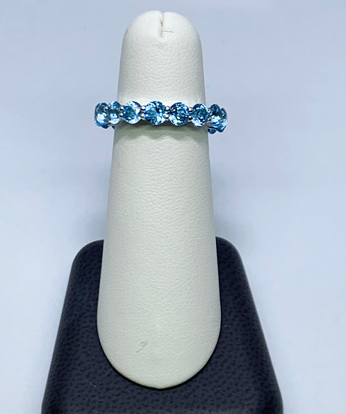 Blue Topaz on Sterling Silver Eternity Band
