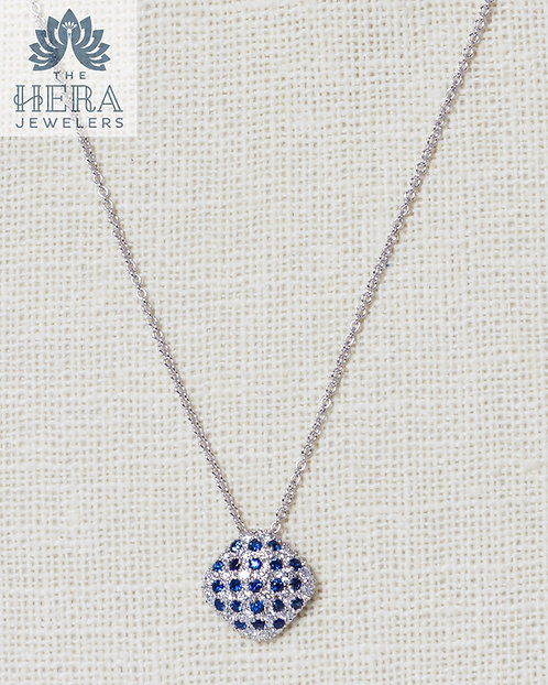 Sapphire and Diamond Square Pendant on Necklace