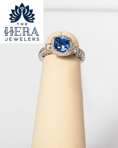 Cushion cut Sapphire Diamond Ring