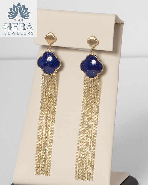 Blue Lapis Tassel Yellow Gold Earrings