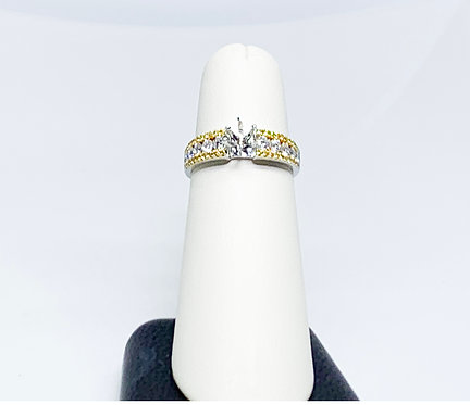 Natural Fancy Yellow and White Diamond Wedding Band