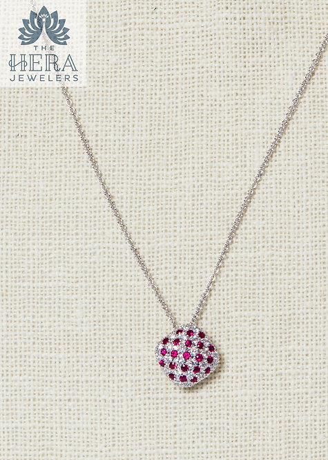Ruby and Diamond Square Pendant on Necklace